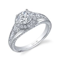 image of Classic Halo Round Center Engraved Engagement Ring