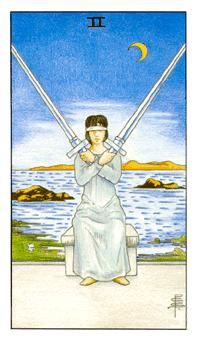 Detailed Tarot card meaning for the Two of Swords including upright and reversed card meanings. Access the Biddy Tarot Card Meanings database - an extensive Tarot resource. Tarot Gratis, Diy Tarot Cards, Two Of Swords, Tarot Cards For Beginners, Tarot Astrology, Rider Waite Tarot, Tarot Card Meanings, Tarot Readers, Illustrations