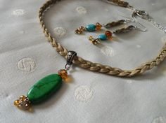 Natural braided Leather necklace with green by DesignImagesLLC
