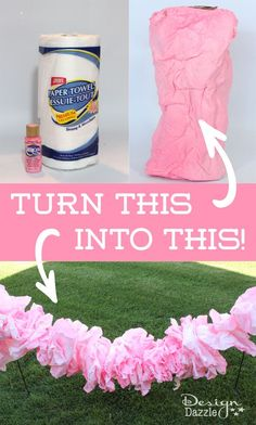 Use craft paint and paper towels to make a pretty pink ruffle garland! #fairyparty #diy Design Dazzle