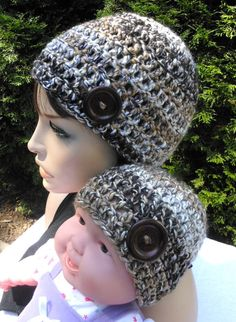Mommy and me matching crochet beanie with button, multi-color brown tan cream hat for mother and daughter, gift to mom by CrochetworksbyVB on Etsy