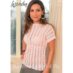 Top in Wendy Supreme Cotton 4 Ply | Knitting Patterns | LoveKnitting