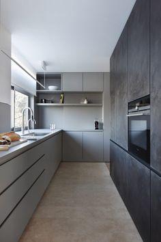 Built-in storage redefines layout for apartment overhauled by MWAI Oak Hill Park by MWAI Grey Kitchen Designs, Kitchen Room Design, Kitchen Cabinet Design, Modern Kitchen Design, Home Decor Kitchen, Interior Design Kitchen, Kitchen Cabinets, Kitchen Ideas, Grey Cabinets