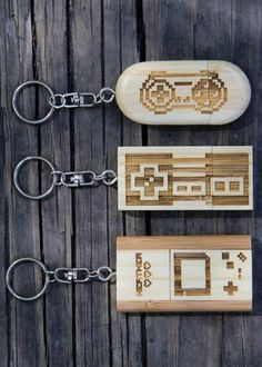 Personalized wooden flash drives - Nintendo 8-bit designs