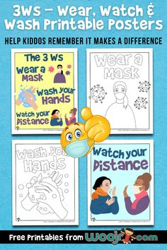 3Ws - Wear Wash & Watch Printable Posters   Woo! Jr. Kids Activities Classroom Activities, Activities For Kids, Teacher Worksheets, New School Year, Business For Kids, Our Kids, Helping Others, How To Stay Healthy, Lesson Plans