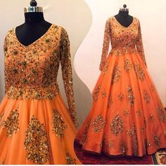 Stitching Type : Semi- Stiched Top Fabric :Net Top Color :Orange Top Inner:Silk Top Size: Up To 44 Size Length : Full Length Work : Sequence Work Occasion :Party Wear, Wedding, Festival Designer Bridal Lehenga, Designer Anarkali, Designer Gowns, Indian Lehenga, Red Lehenga, Lehenga Choli, Anarkali Gown, Net Gowns, Drape Gowns