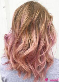 Rose gold hair 2016: 40 účesů v barvě růžového zlata