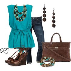 I love this teal blouse.