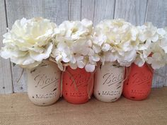 Pint Mason Jars,Coral and Cream,Painted Mason Jars,Rustic Wedding Centerpieces,Baby Shower Decoration,Flower Vases,Rustic Home Decor by LacyBellesBoutique on Etsy https://www.etsy.com/listing/197910635/pint-mason-jarscoral-and-creampainted