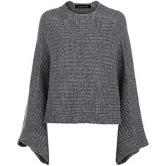 Jaeger Cropped Cape Jumper, Grey (€200) ❤ liked on Polyvore featuring tops, sweaters, grey cropped sweater, grey long sleeve shirt, long sleeve tops, long-sleeve crop tops and gray long sleeve shirt