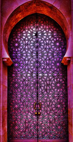 Casablanca, no Marrocos. Mesquita Hassan Fotografia: Tarik El Barq no Cool Doors, Unique Doors, The Doors, Entrance Doors, Doorway, Windows And Doors, Front Doors, Knobs And Knockers, Door Knobs
