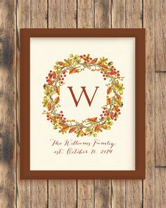 Watercolor Fall Wreath Print  #housewarming #weddinggift #wallart #homedecor #style #designlove #interiorstyling #artwork #interiordecoration #interiordecor #interiordesign #gallerywall #print #personalized #watercolor #personalizedart