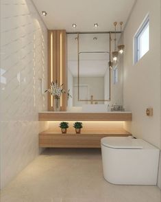 A simple toilet that is still sophisticated, the mixture of woody with white and details in gold brought a lot of charm to this… Lavabo Design, Washbasin Design, Bathroom Design Luxury, Home Interior Design, Washroom Design, Vanity Design, Toilet Design, Bathroom Styling, Bathroom Furniture