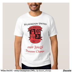 """Wilm Utd FC - 2005 Champions (White) T Shirt, Style: Men's Basic T-Shirt Comfortable, casual and loose fitting, our heavyweight t-shirt will quickly become one of your favorites. Made from 100% cotton, it wears well on anyone. We've double-needle stitched the bottom and sleeve hems for extra durability. Select a design from our marketplace or customize it to make it uniquely yours!  Size & Fit  Model is 6'2"""" and is wearing a medium Standard fit Fits true to size Fabric & Care  100% cot"""