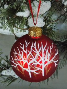 Hand Painted Christmas Ornament Trees Bare Branches