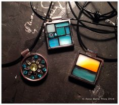 Mosaic Pendants by Anne Marie Price   www.AnneMariePrice.com   #mosaic #art #mosaicart #jewelry #pendant #gift #stainedglass #blue #CA
