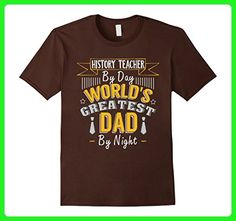 Mens History Teacher By Day World's Greatest Dad By Night T Shirt 3XL Brown - Relatives and family shirts (*Amazon Partner-Link)