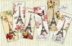 I Love Paris -  digital collage sheet - set of 6- Printable - Download - Scrapbooking - Greeting cards