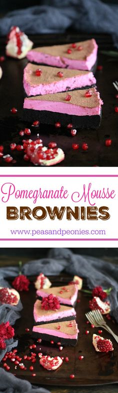Pomegranate Mousse Brownies - Sweet, silky smooth, loaded with chocolate and topped with a luxurious mousse, these Pomegranate Mousse Brownies are festive and delicious. Peas and Peonies