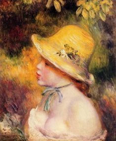 Young Girl in a Straw Hat, 1890, Pierre-Auguste Renoir  Medium: oil on canvas