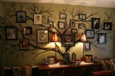Family Tree: This is on the website of an artist, so there are no instructions, but I would love something similar in my house, and it looks fairly simple, if you are artistic. :)