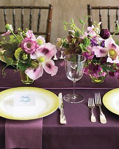 Purple and chartreuse wedding reception idea.  For the record?  There's no reason you can't have TWO shades of purple (these two) with your other colors.
