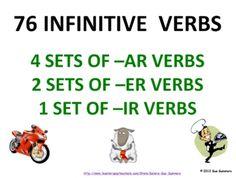 Spanish Verb Infinitives by Sue Summers - 76 -AR/ER/IR - Presentation & Flashcards
