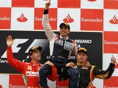 2012 F1 Spanish GP Podium - (L to R) Fernando Alonso, Pastor Maldonado, Kimi Raikkonen