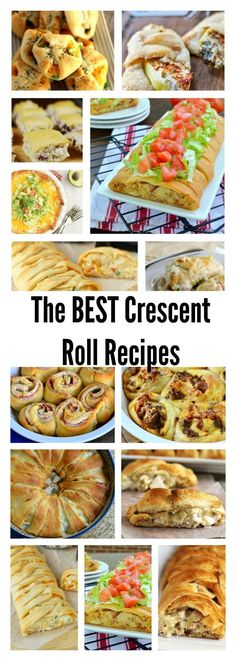 Best Crescent Roll Recipes - easy to make and great for parties. You'll love the variety of recipes made with family favourite crescent rolls. These are the best ever appetizer recipes you'll find! Crescent Rolls, Crescent Roll Pizza, Crescent Roll Recipes, Crescent Ring, Crescent Dough, Pilsbury Crescent Recipes, Cresent Roll Appetizers, Pillsbury Dough, Pillsbury Recipes