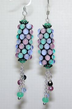 Pastel Bubbled Barrel LAMPWORK Bead Earrings