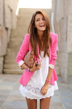 blazer (any colour BUT pink) on top of white dress.