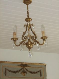 Vintage French bronze and crystal drop 3 branch by FrenchlyMoments, $240.00