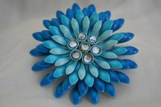 Amazing Vintage Blue Flower Enamel and by exquisitevintaj on Etsy, $22.00