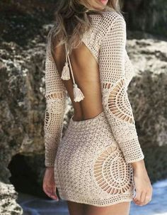 How to Crochet a Little Black Crochet Dress - Crochet Ideas Excited to share this item from my shop: Crochet Mini Dress, Long Sleeve Dress, Festival Clothing. Gilet Crochet, Diy Crochet, Crochet Bikini, Crochet Top, Crochet Ideas, Boho Fashion, Fashion Outfits, Fashion Jewelry, Black Crochet Dress