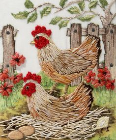 Cheerful chickens embroidered