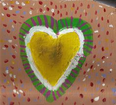 Found Wood Painting Sloppy Heart No 5 Love is Me by josephhkyle, $25.00