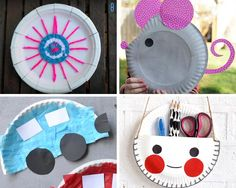 So many different ideas for paper plate crafts for kids - love that mouse!