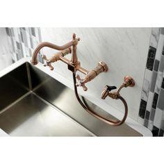 Antique Brass Kitchen Faucet, Brass Kitchen Handles, Wall Mount Kitchen Faucet, Farmhouse Faucet, Kitchen Faucet With Sprayer, Copper Faucet, Wall Mount Faucet, Copper Wall, Kitchen Sink Faucets