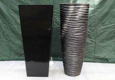 Tall black fibreglass and black stone effect planters