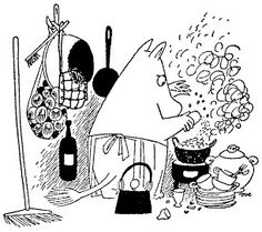 Can you smell what Moominmamma is cooking? Troll, Moomin Valley, Tove Jansson, Visual Diary, Black And White Illustration, Children's Book Illustration, Botanical Illustration, Finland, Fairy Tales