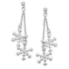 Double Drop Sterling Silver Snowflake Post Earrings | SilverStones