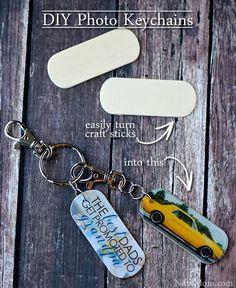 DIY Photo Keychains from Craft Sticks