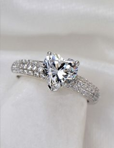 Heart 925 Sterling Silver Plated White Gold Cubic Zirconia Ring