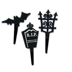 12 Halloween Black Shapes Cupcake Picks by jenuinecraftsandmore