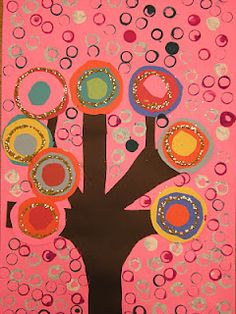 Kandinsky trees - cut/draw tree shape - add paper collage circles in contrasting colors - print in background
