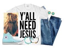 """Y'all need Jesus✌️"" by kaley-ii ❤ liked on Polyvore featuring AG Adriano Goldschmied, Converse, Tai, Pura Vida and Kendra Scott"