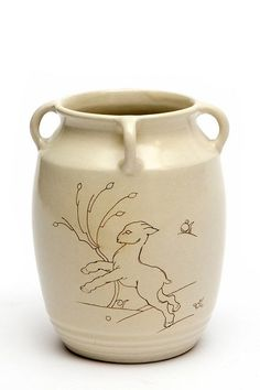 A ceramic vase decorated with a billy-goat, Cris Agterberg for Westraven