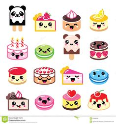 Vector icons set of Kawaii food isolated on white. Free art print of Cute Kawaii dessert - cake icons. Cute Food Drawings, Cute Kawaii Drawings, Kawaii Doodles, Cute Doodles, Easy Drawings, Kawaii Stickers, Cute Stickers, Dessert Kawaii, Dessert Food