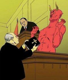 funny Satan trial bible on imgfave Devil Aesthetic, Satanic Art, Arte Horror, My Demons, Dark Art, Art Inspo, Creepy, Religion, Character Design
