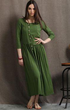 Linen Maxi Dress, Moss Green Asymmetrical Semi-Fitted Casual Comfortable Women's Dress, Plus size Pleated shirt dress with pockets Women's Dresses, Linen Dresses, Pleated Shirt, Shirt Dress, Corsage, Maxi Robes, Mode Hijab, Overall, Kaftan